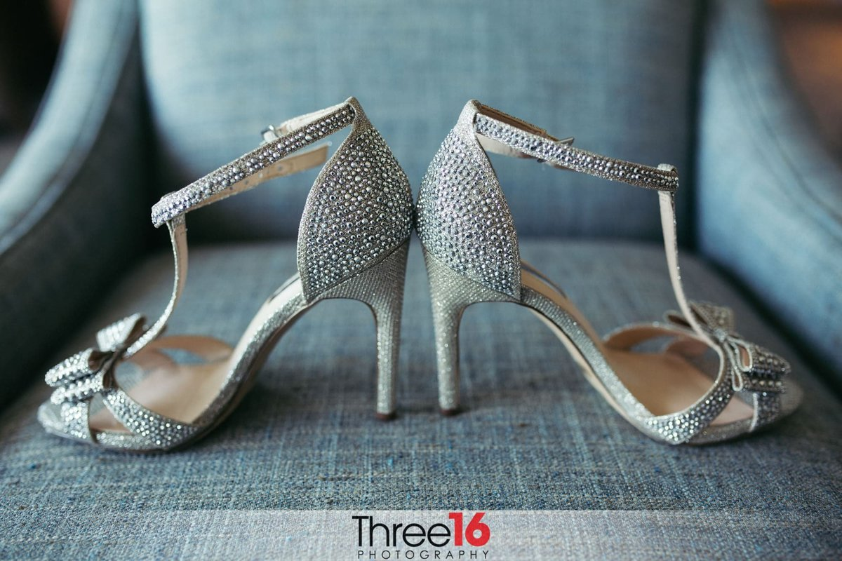 Bride's silver wedding day shoes