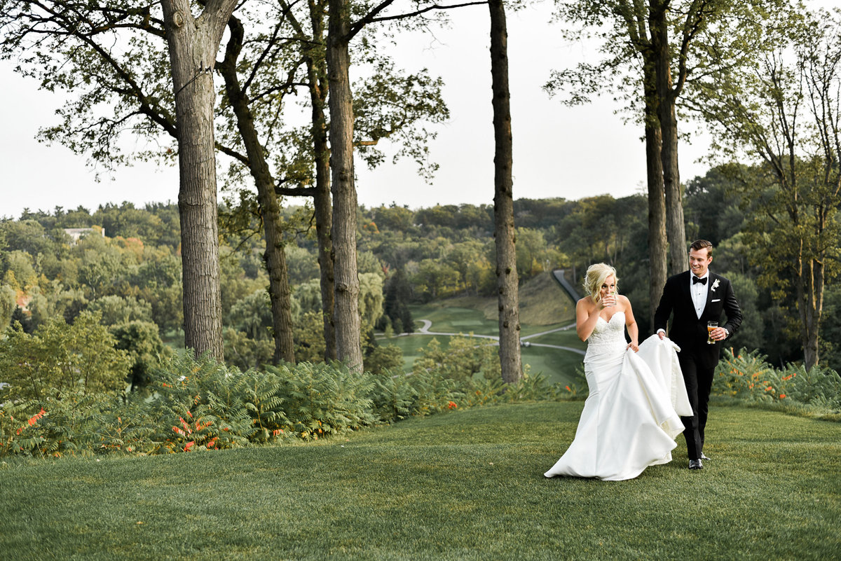 Bride and groom at the end of their lawn ceremony at Graydon Hall