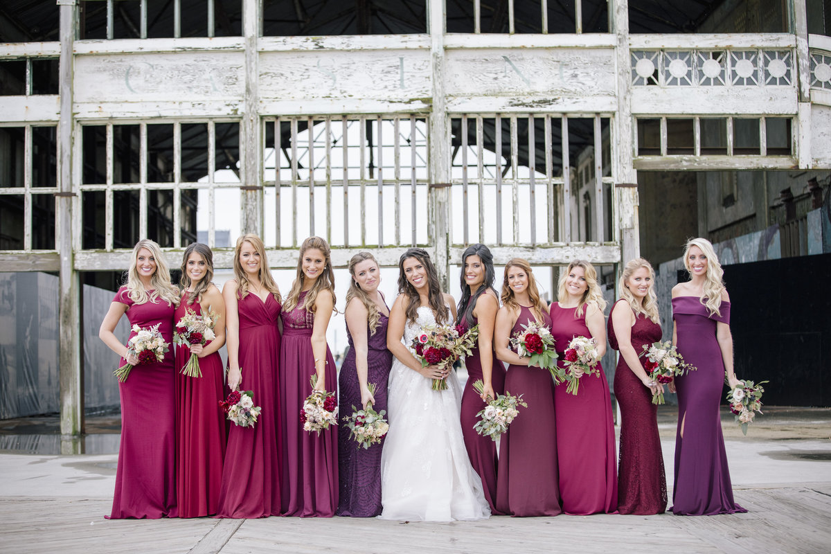 bridesmaids in front of casino in asbury park wedding