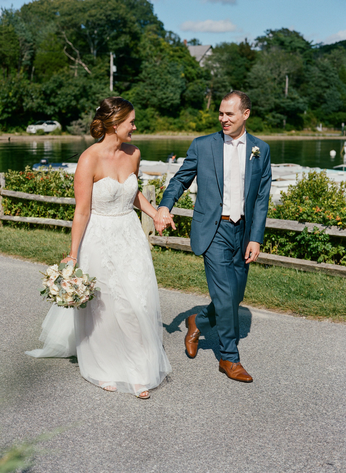 Bride and groom Quissett Harbor Woods Hole