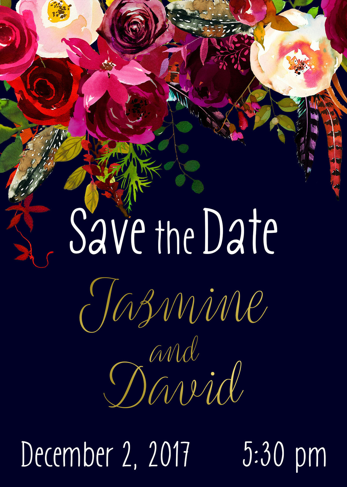 Navy, Burgundy & Gold Save the Dates - Copy