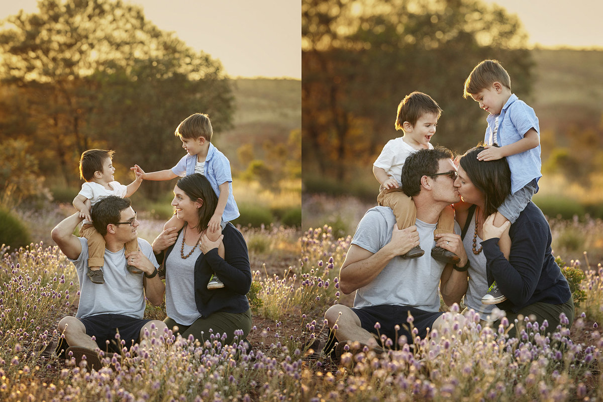 Two photos of a family in field with golden light, kids on parents shoulders high fiving and watching mum and dad kiss