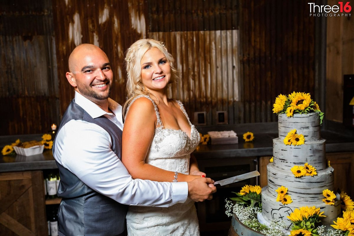 Peltzer Winery Wedding Venue Photography Temecula Bride and Groom Wedding Cake