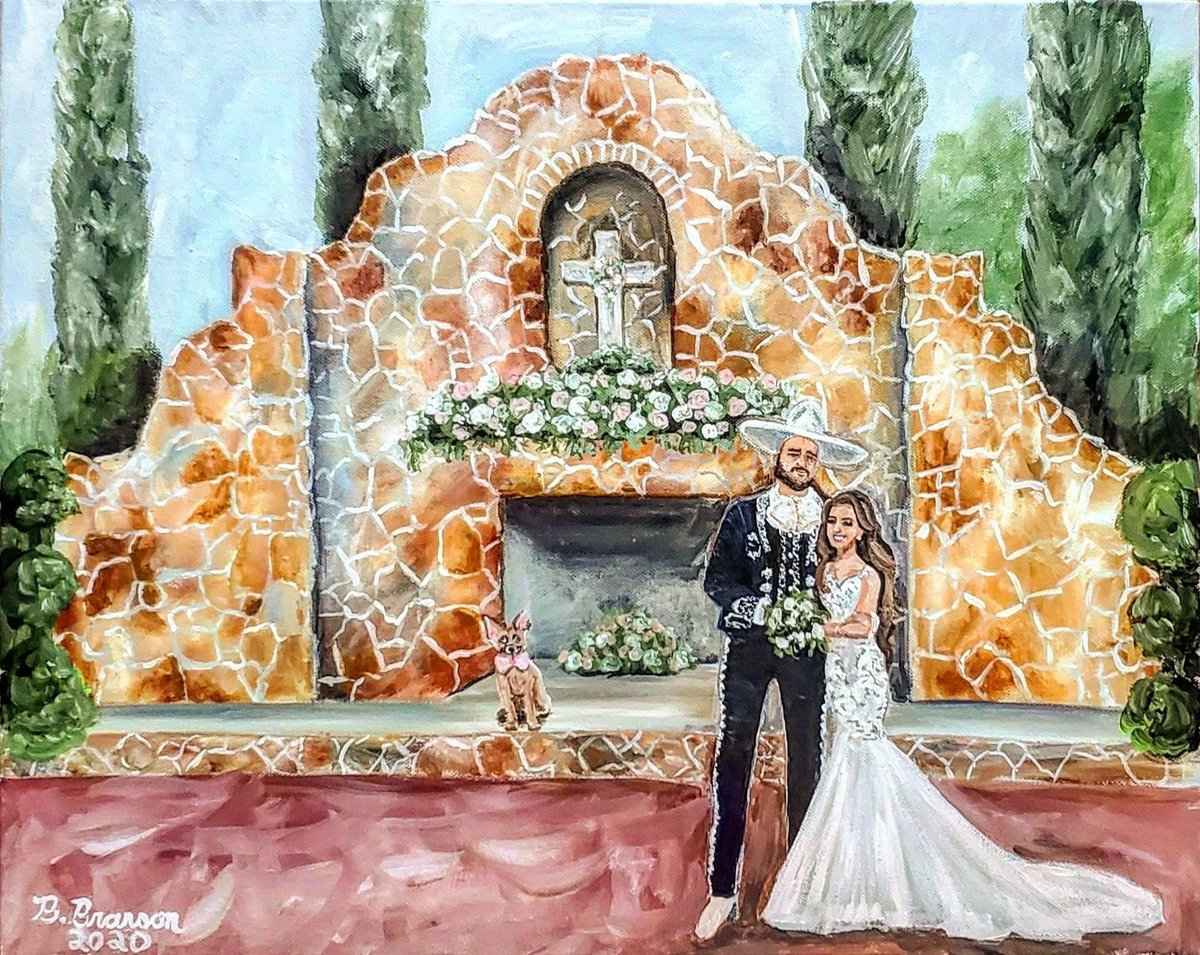 Live painting of a bride and groom at the altar of their Madera Estates wedding venue in Conroe Texas