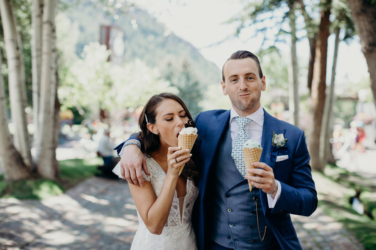 gps-aspen-bride-and-groom-ice-cream-shot-custom-blue-suit-scabal-fabric