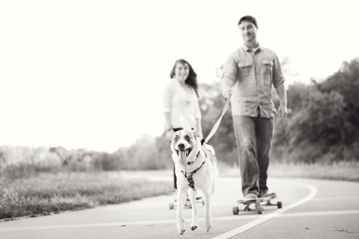 longboarding engagement session with dog