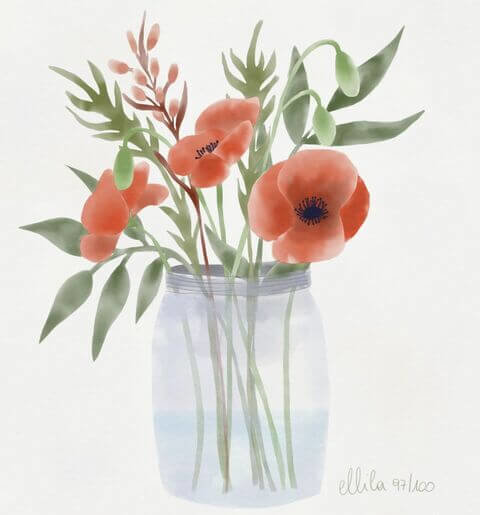 watercolor poppy ellila designs