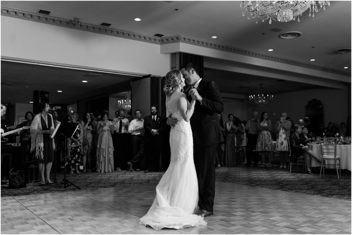 Bride and groom first dance, black and white wedding photography