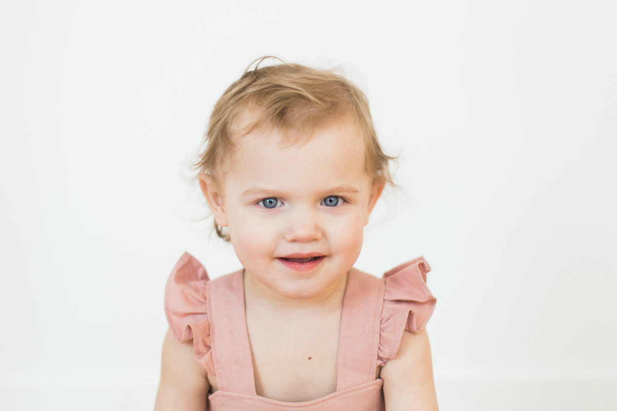 Portrait of two-year-old girl in Minnetonka, MN