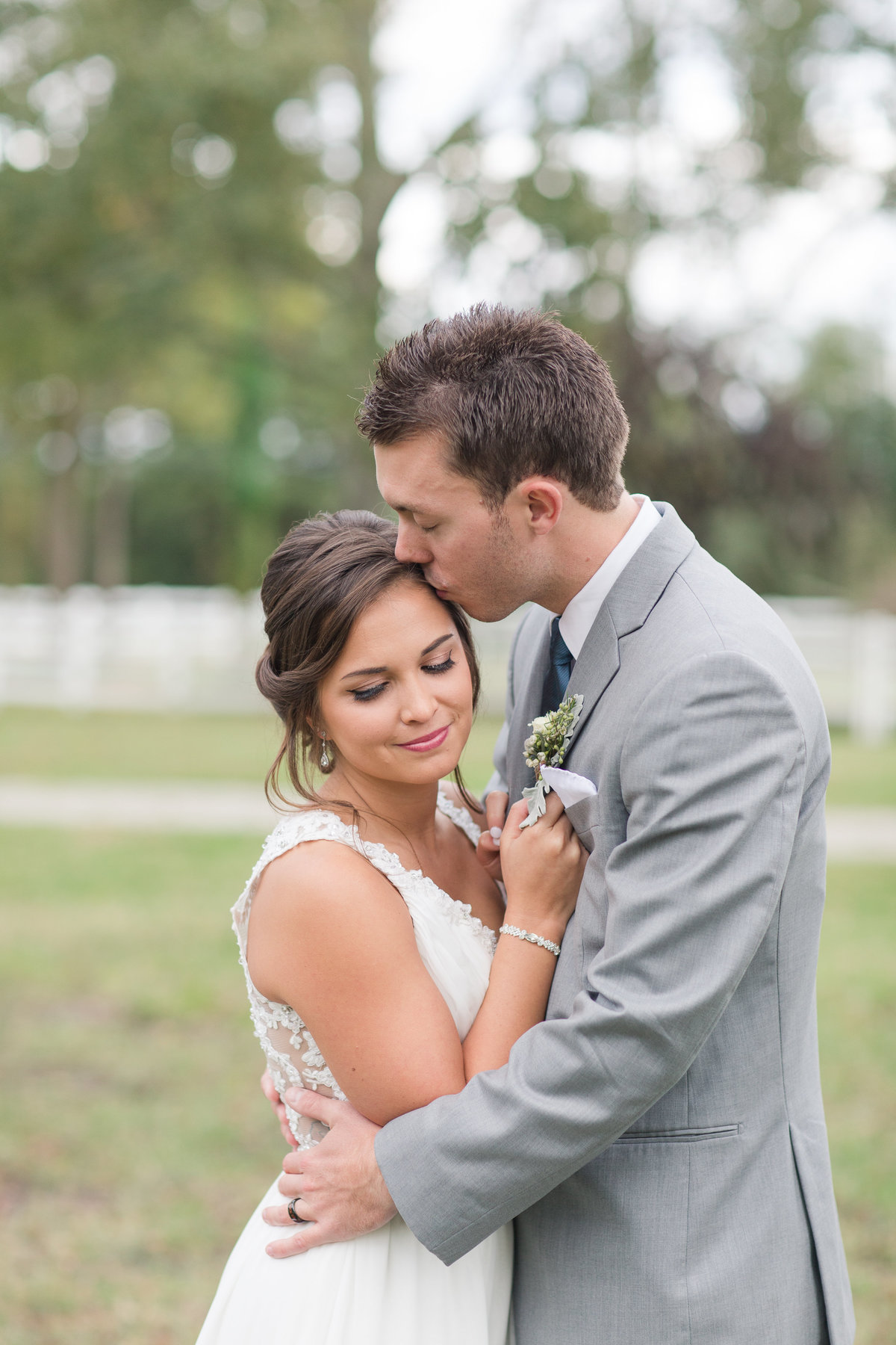 couple embracing at culpepper barn wedding