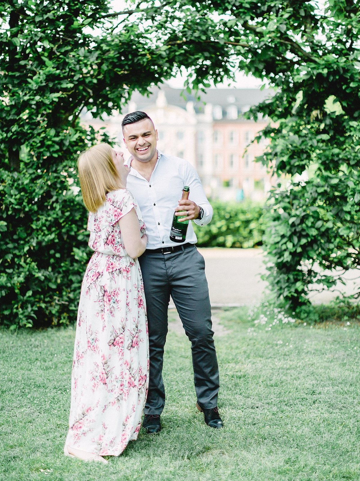 Champagne toast at Romantic European Palace Anniversary Session photographed by France destination wedding photographer Alicia Yarrish Photography