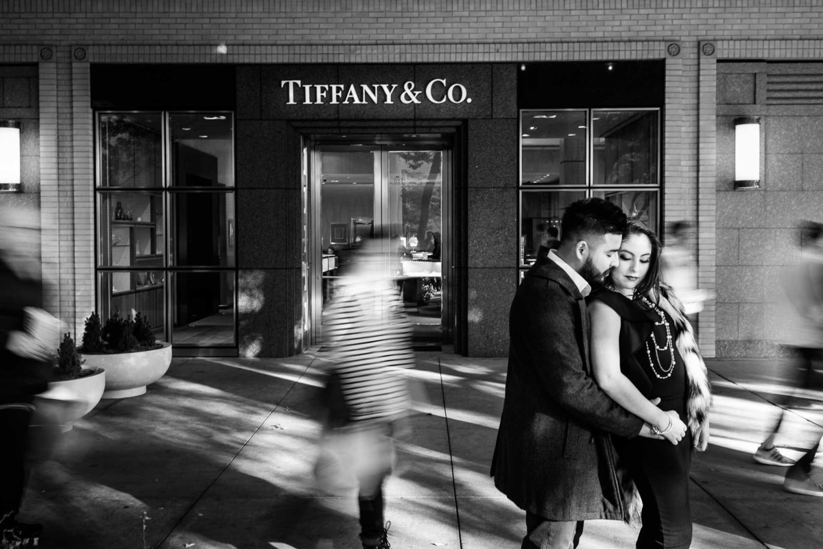 engagement photo in front of tiffany in dallas texas by stephane lemaire photography