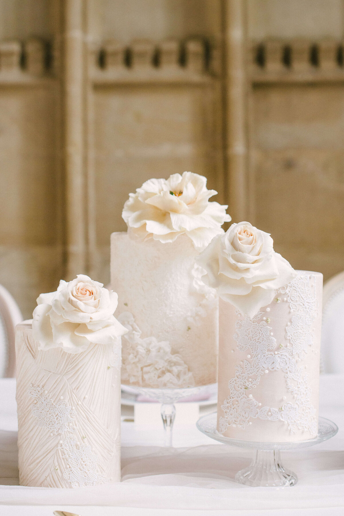 Trio of blush lace floral wedding cakes oxford | MonAnnie