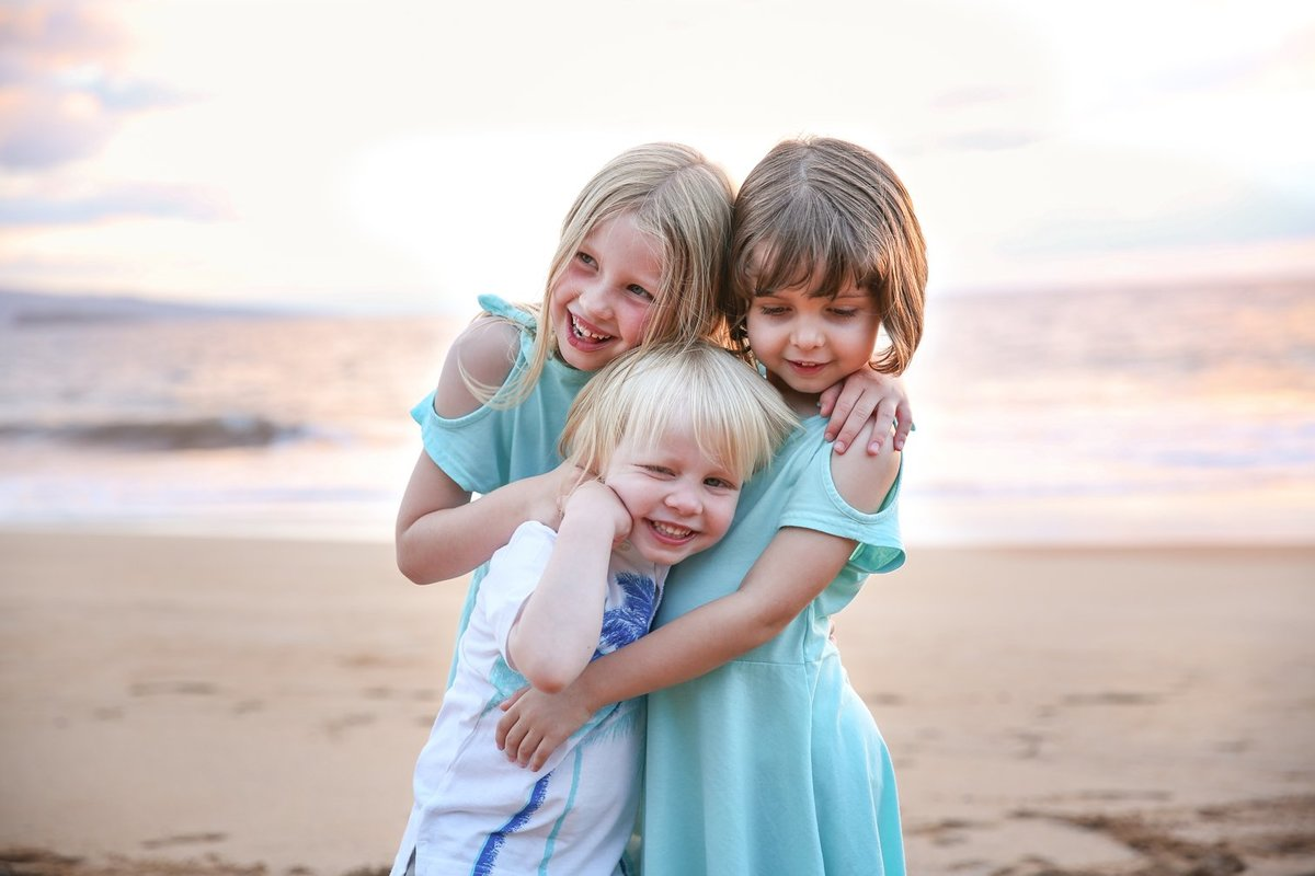 Capture Aloha Photography, Maui Family Portraits with three gorgeous sisters on the beach