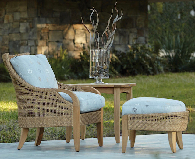Wicker Chair and Ottoman For Outdoors