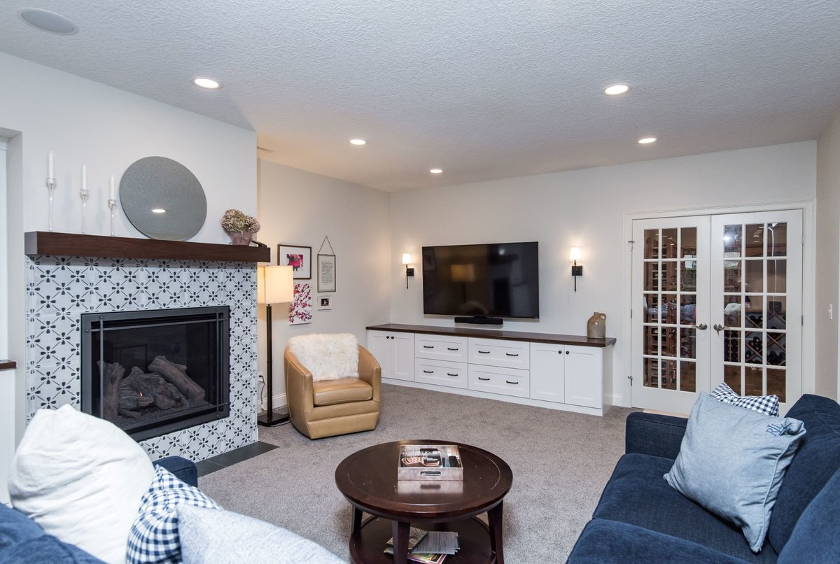 basement remodel with media cabinetry