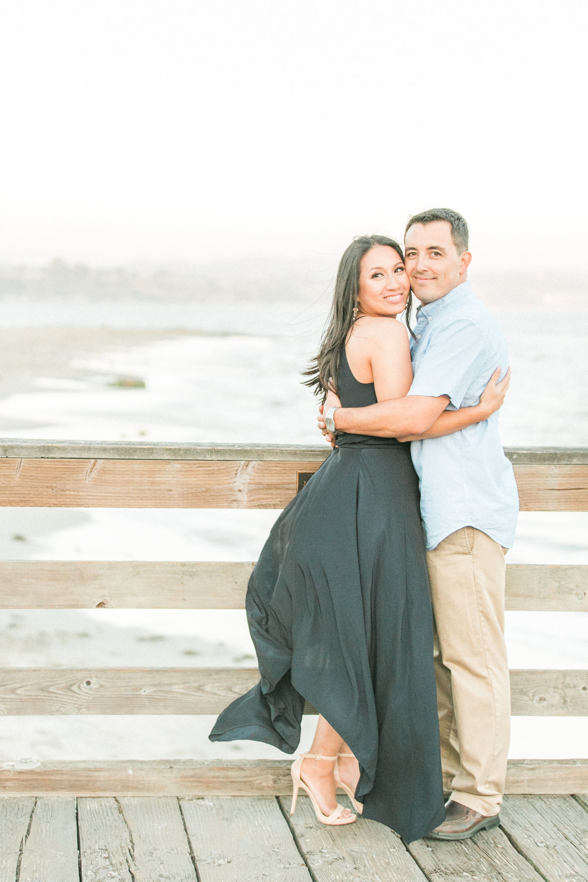 Dusk Natural Light Beach Pier Engagement