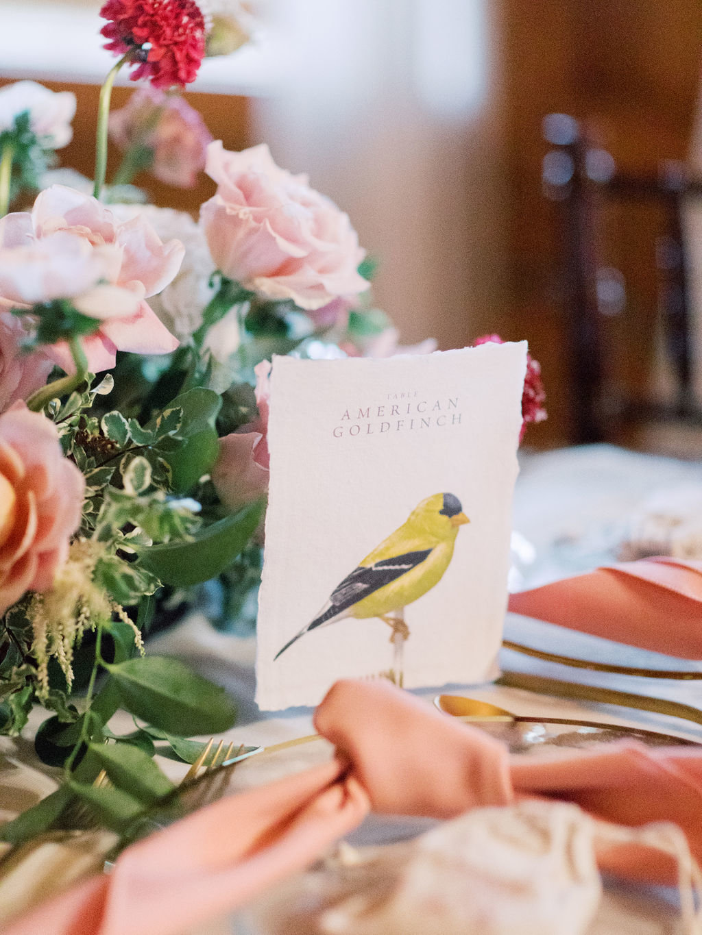 Fall bird wedding table card