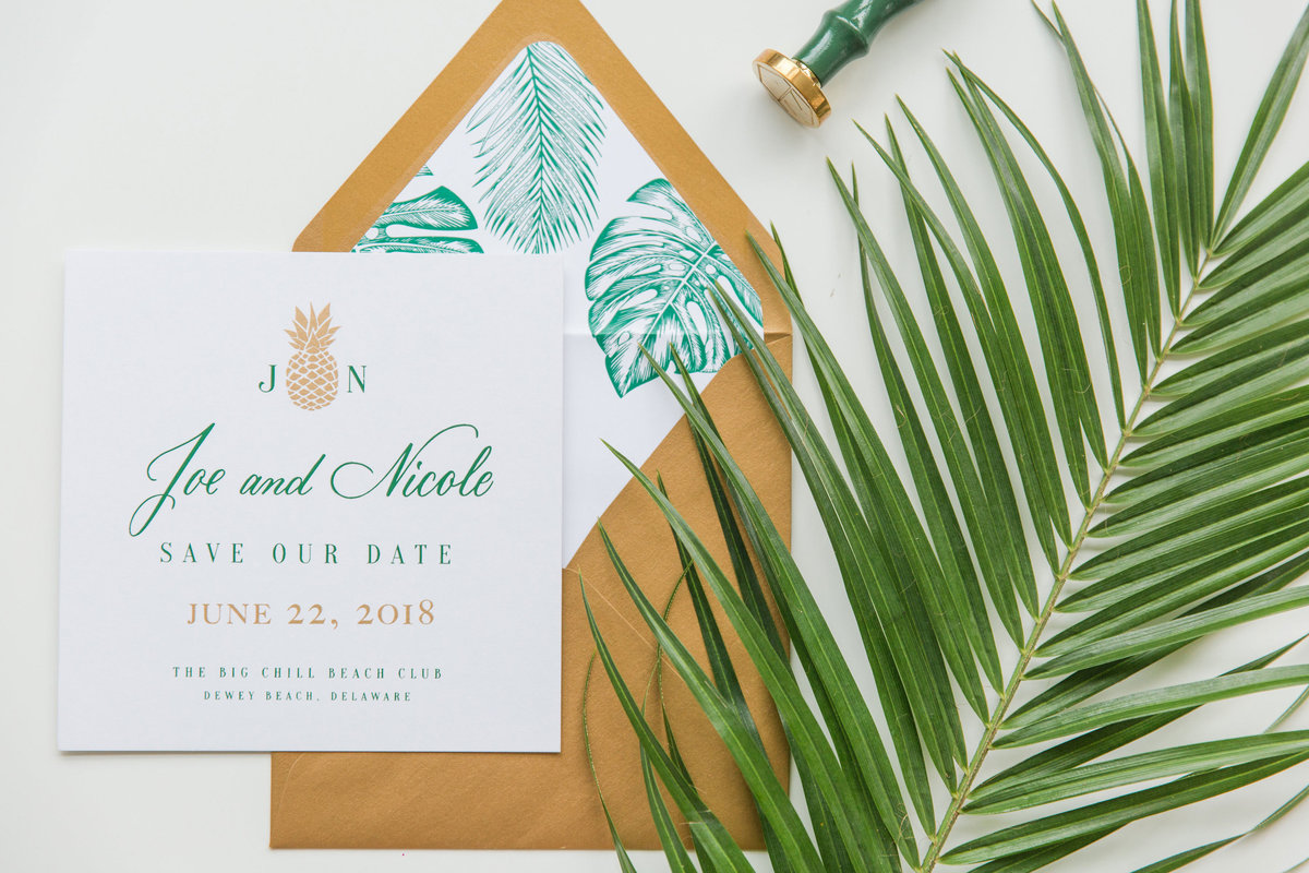 Custom hand lettered invitations with envelope liners