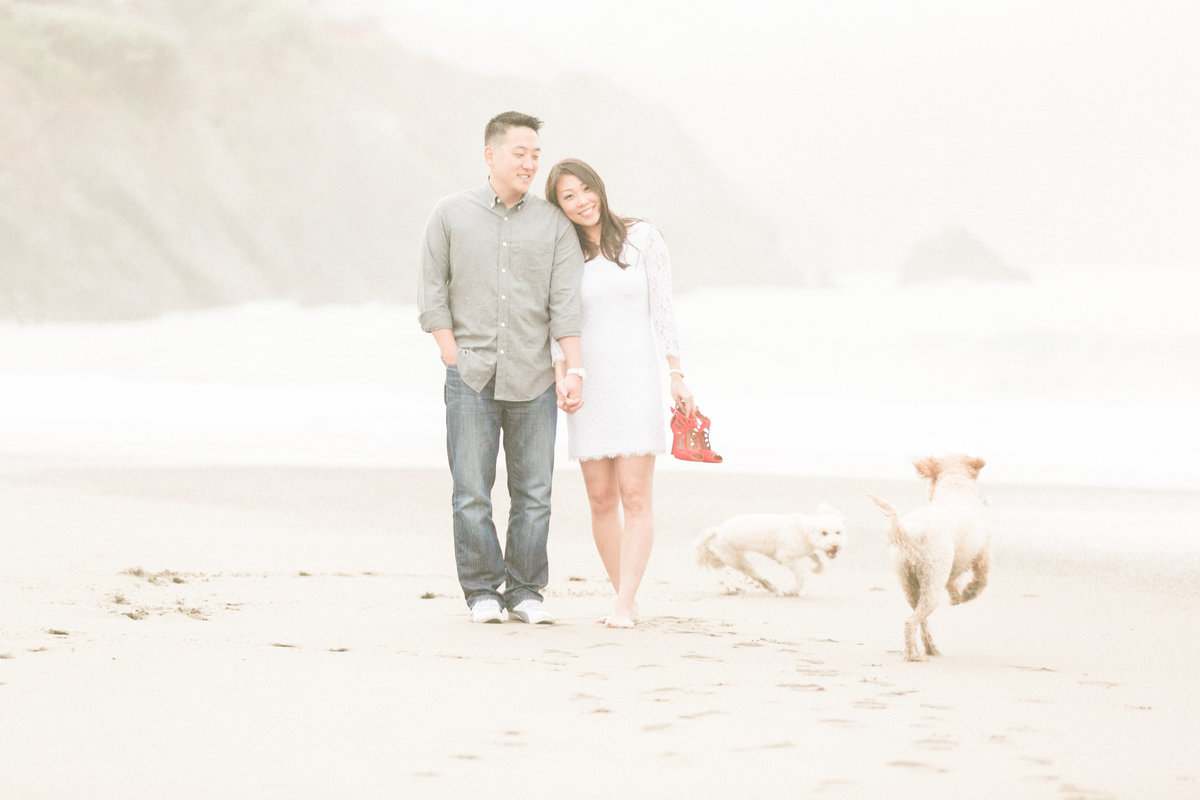 Ocean Beach Engagement  Session with Dogs