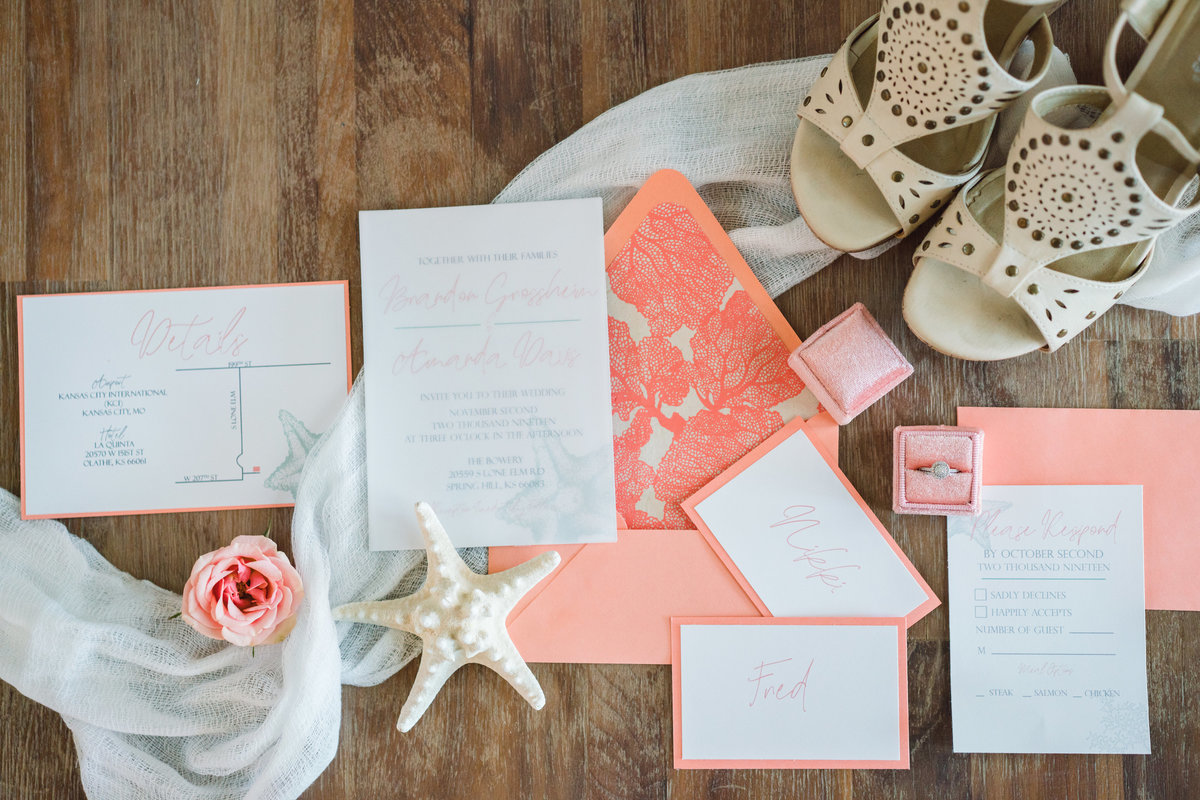 Boho beach wedding invitations