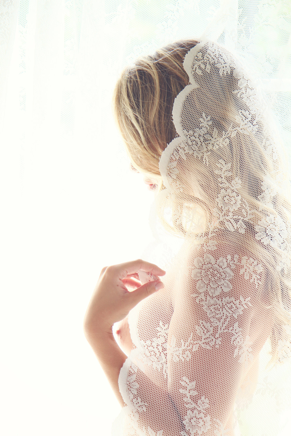 fine art bridal boudoir veil photo