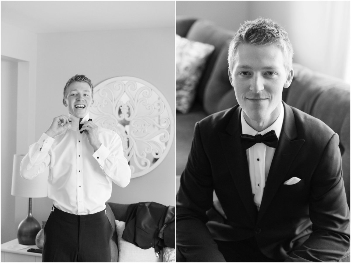 Black and white photos, groom getting ready, tux with bow tie