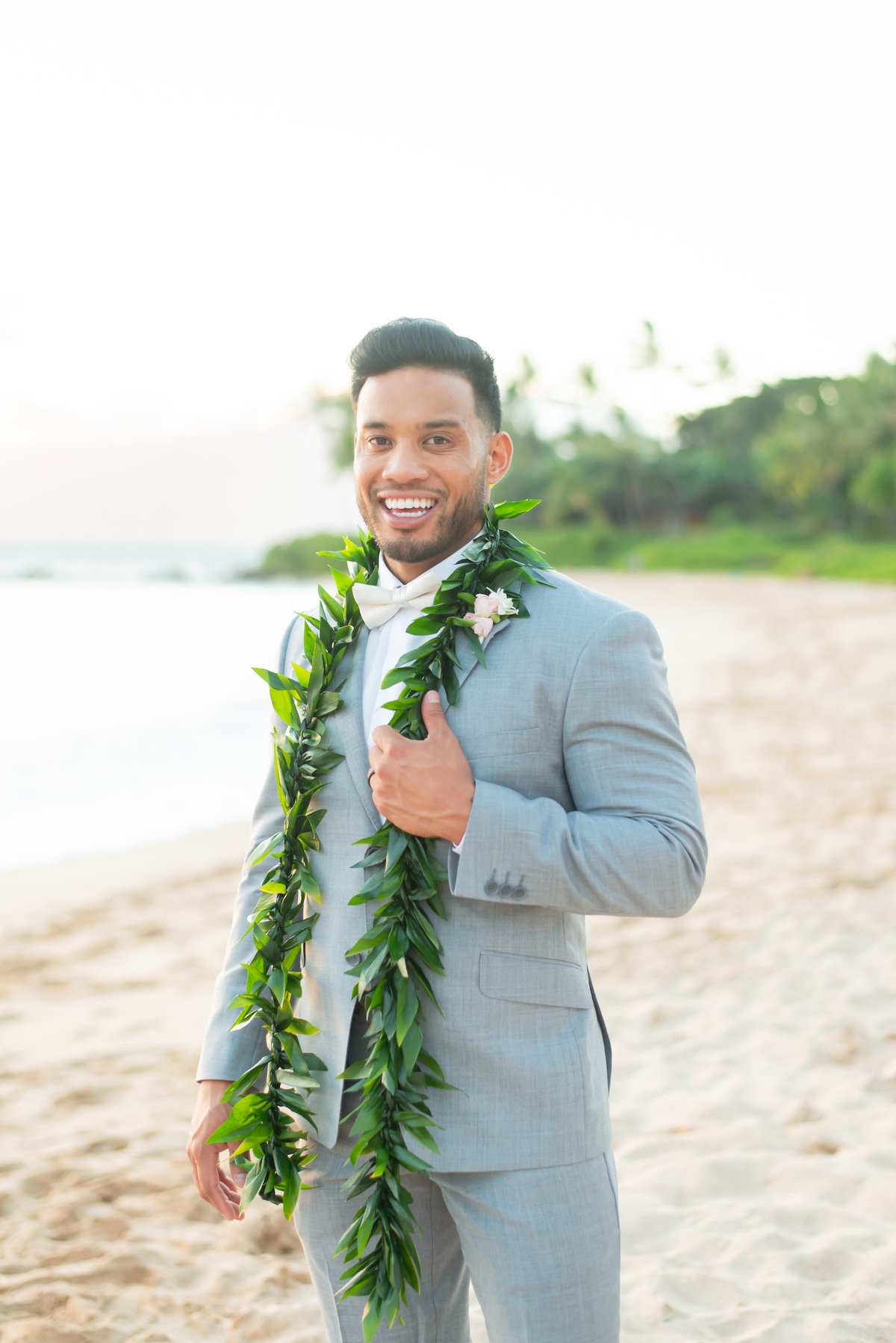 Maui wedding photography - groom with lei