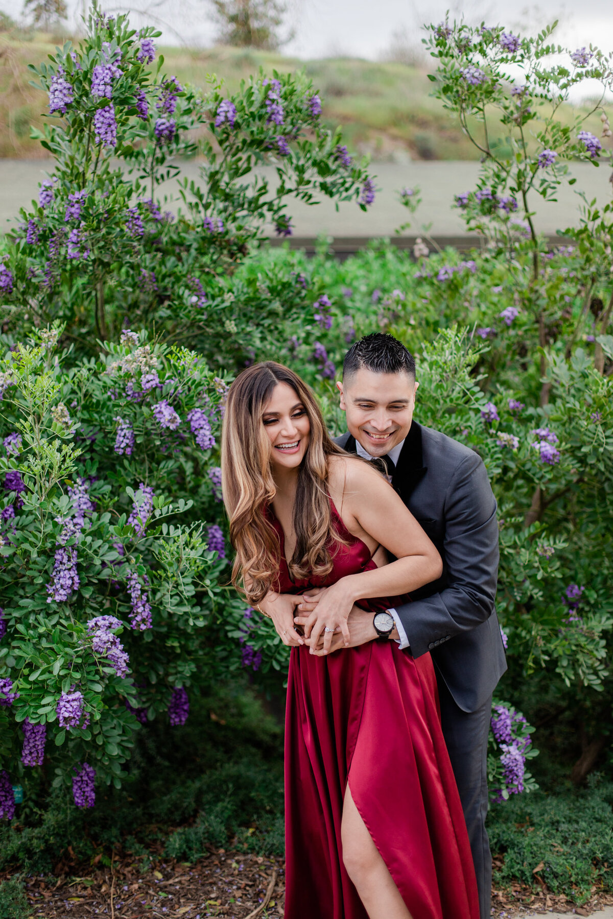 UC Riverside Botanical Gardens, Engagement Photography, Riverside Phototgrapher, Garden Engagement, Couple Photography, Red Dress-93