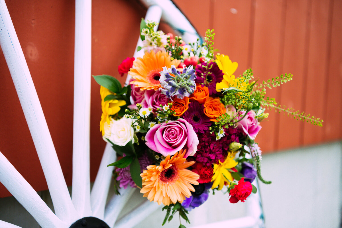 Colorful florals from outdoor New Hampshire wedding