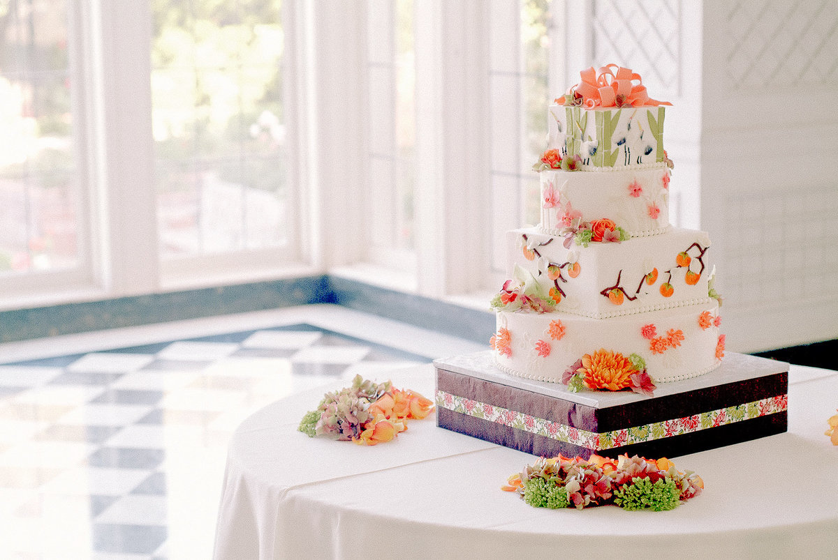 Asian inspired wedding cake at the Kohl Mansion.
