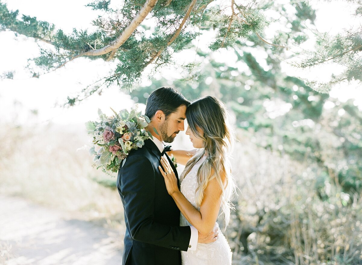 Couple elopes in big sur and snuggle for elopement portraits