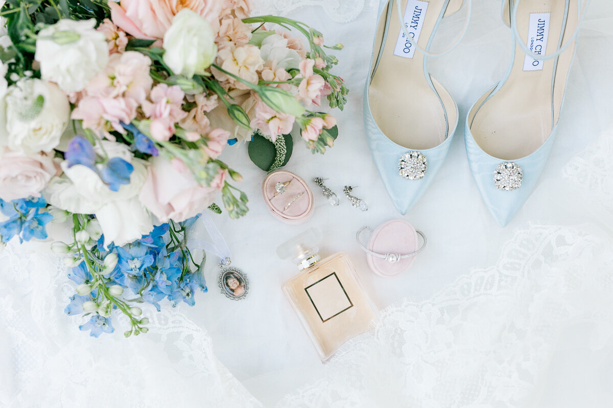 wedding shoes and perfume