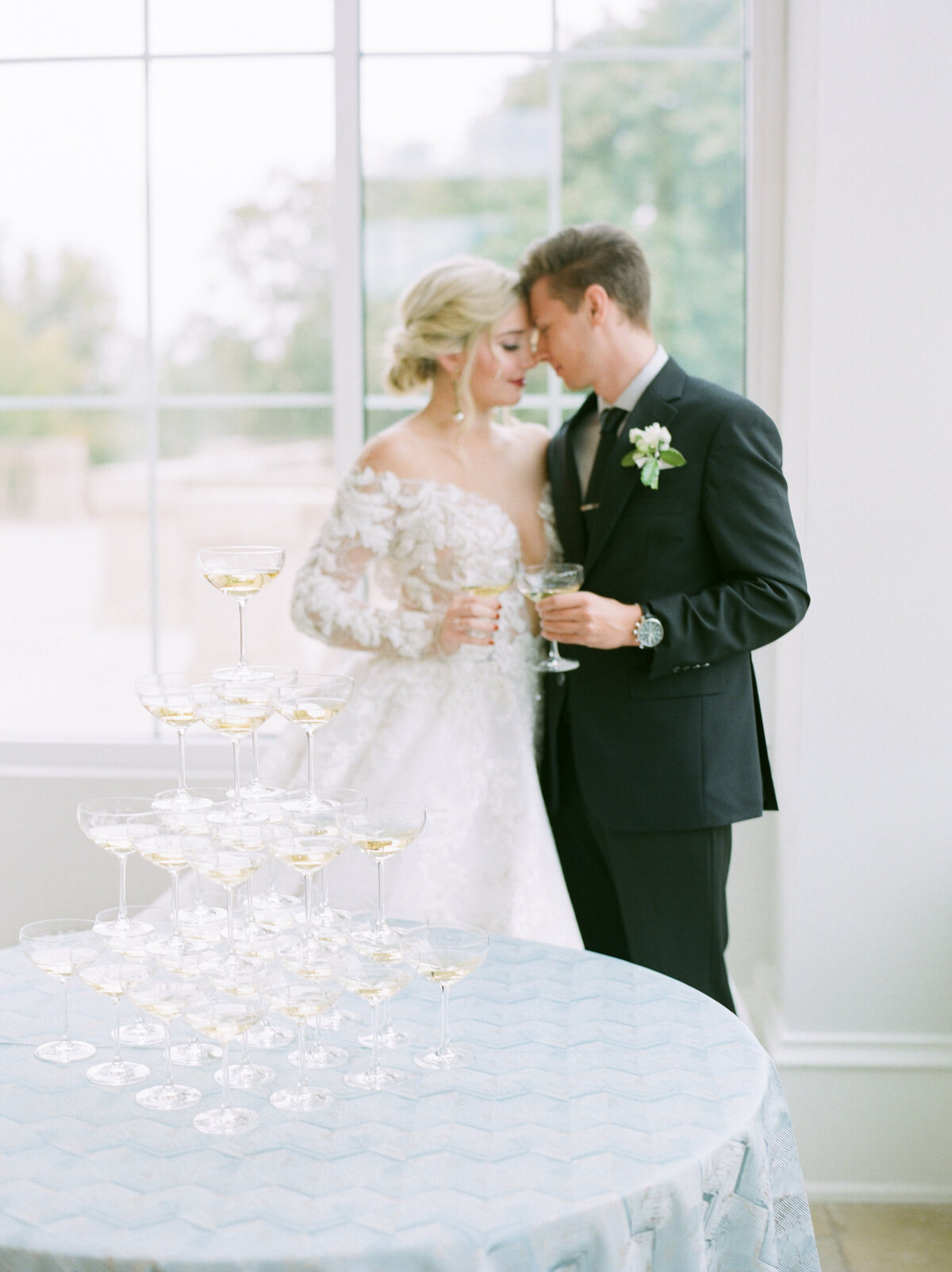 The Olana Nimbus Events Wedding Planning Champagne Tower Toast