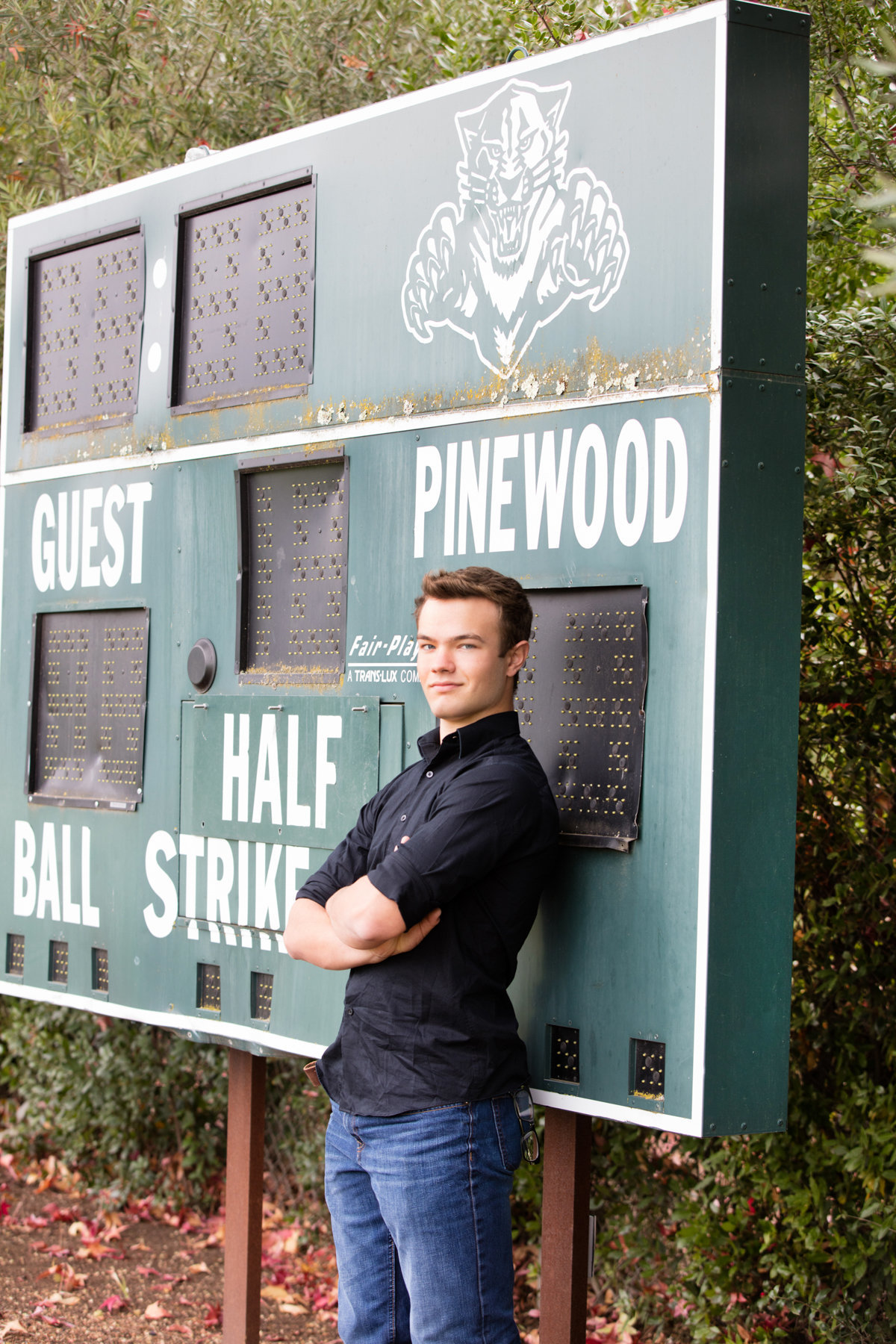 Senior Boy Portrait School Campus Field Scoreboard