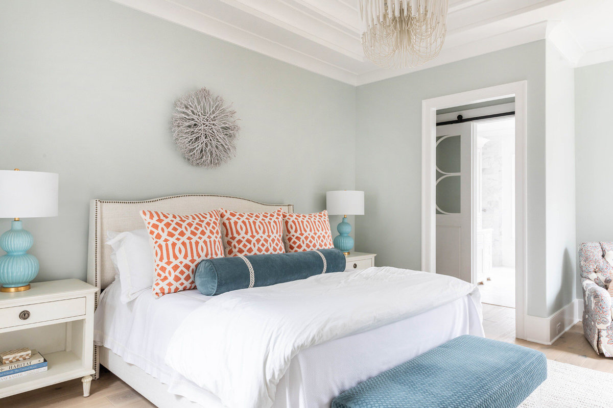 Sherwin-Williams-Sea-Salt-Master-Bedroom-with-Arteriors-tilda-Chandelier-2