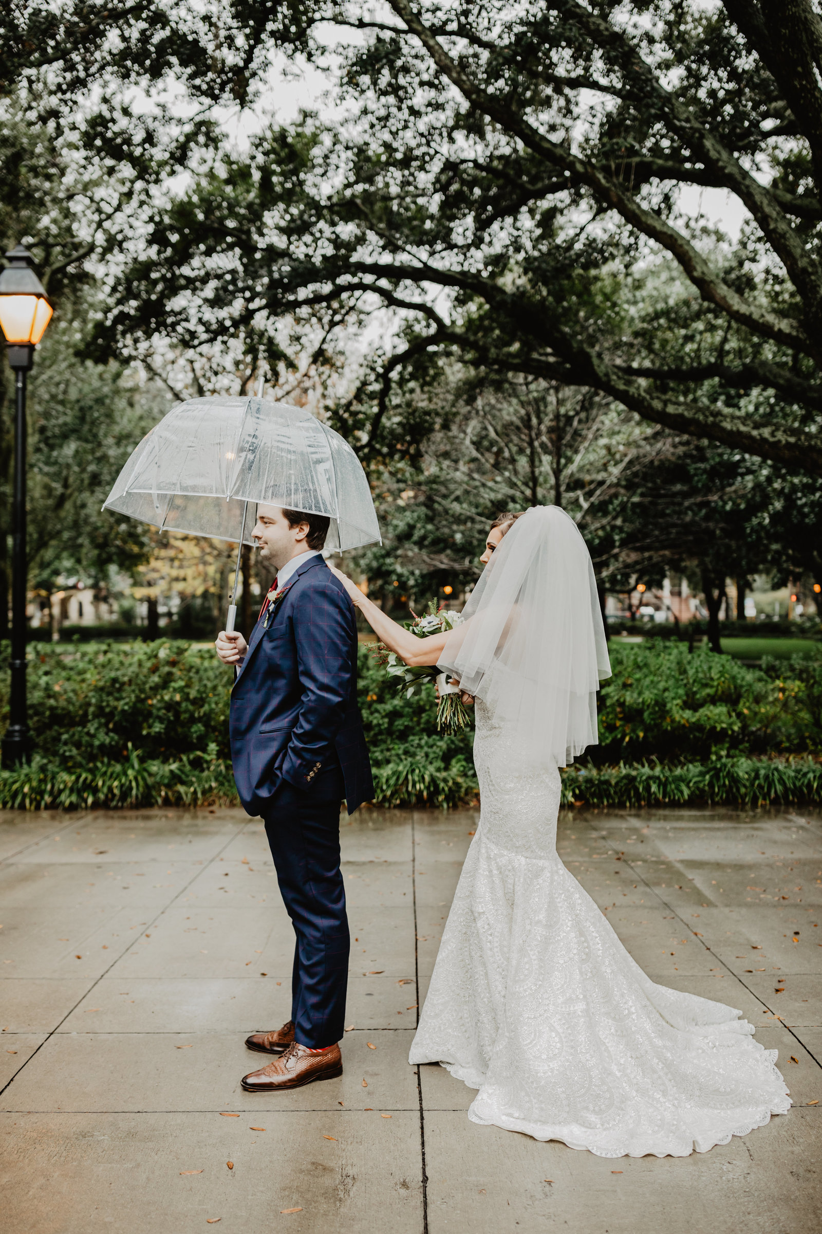Bride greets Groom on rain day for the first time in Savannah