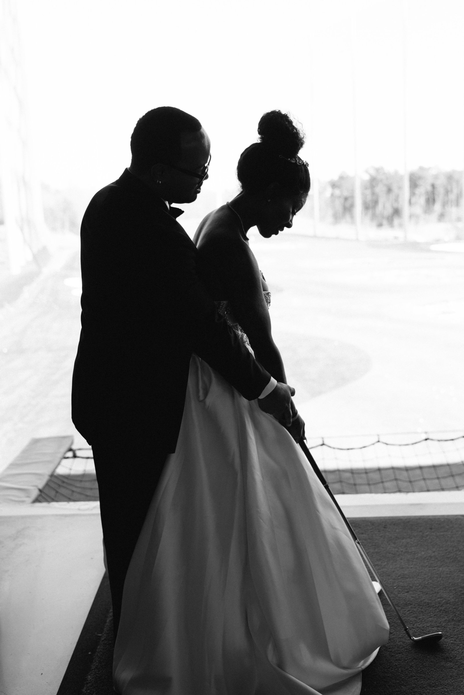 charlotte wedding photographer shot at top golf of bride