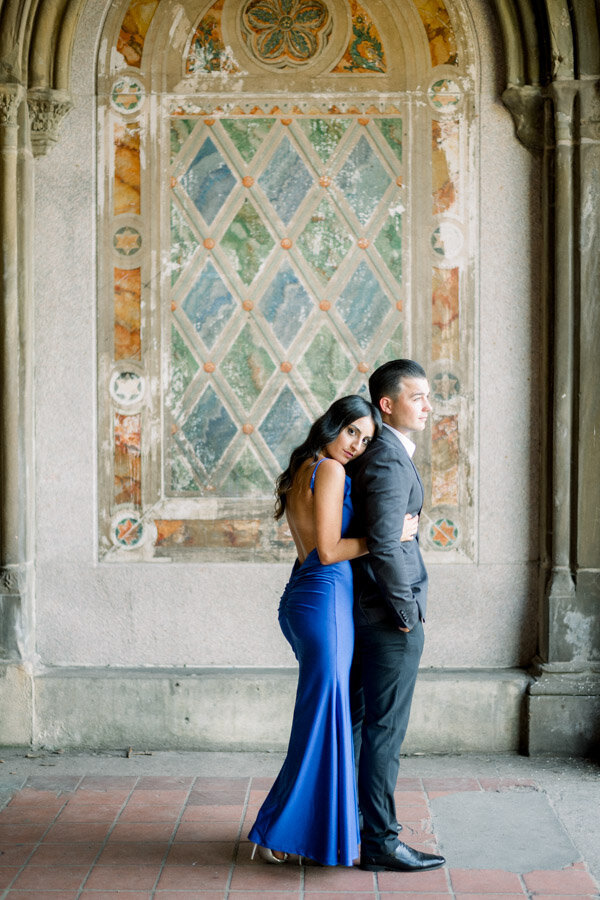 Bride to be wears royal blue gown for stylish engagement session in NYC