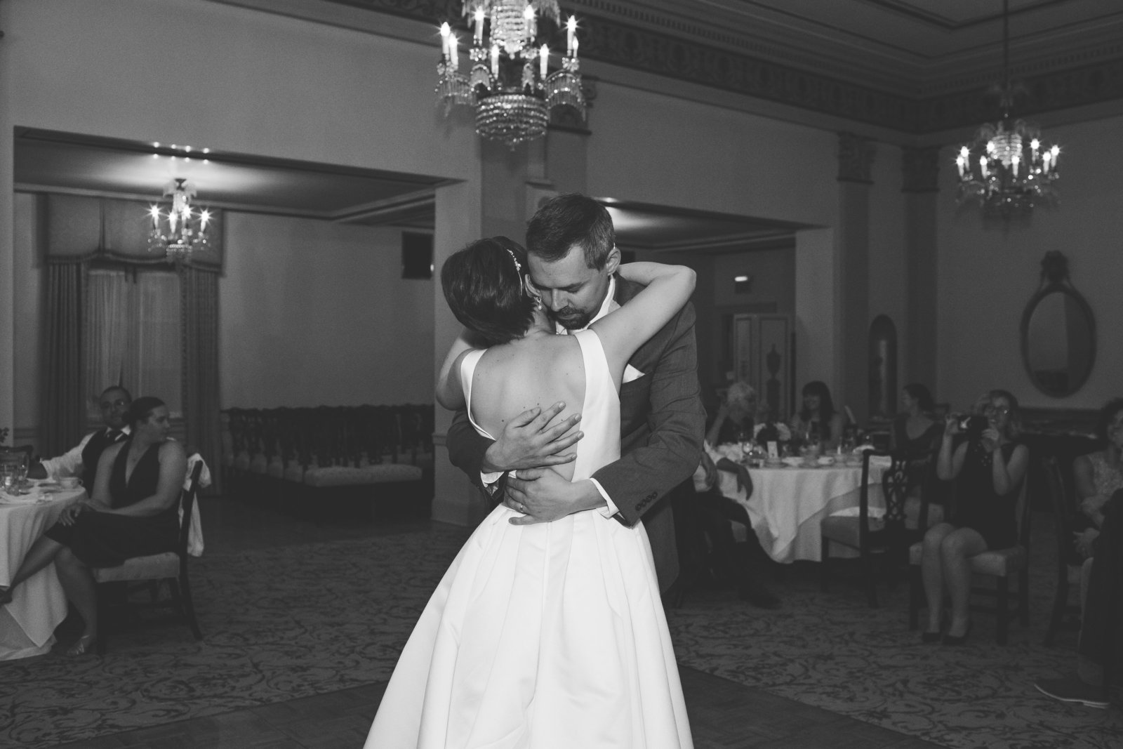 couple holds each other during their first dance