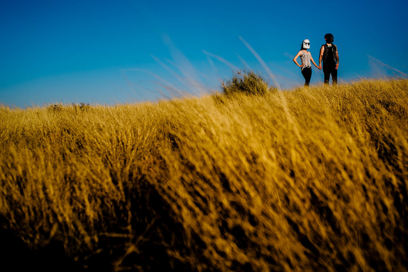 couple standing together during their el paso engagement session by stephane lemaire