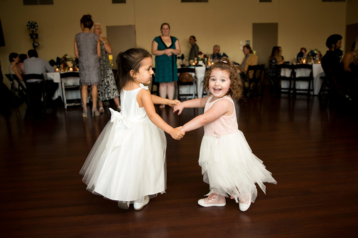 flower girls dancing at reception carlton oaks
