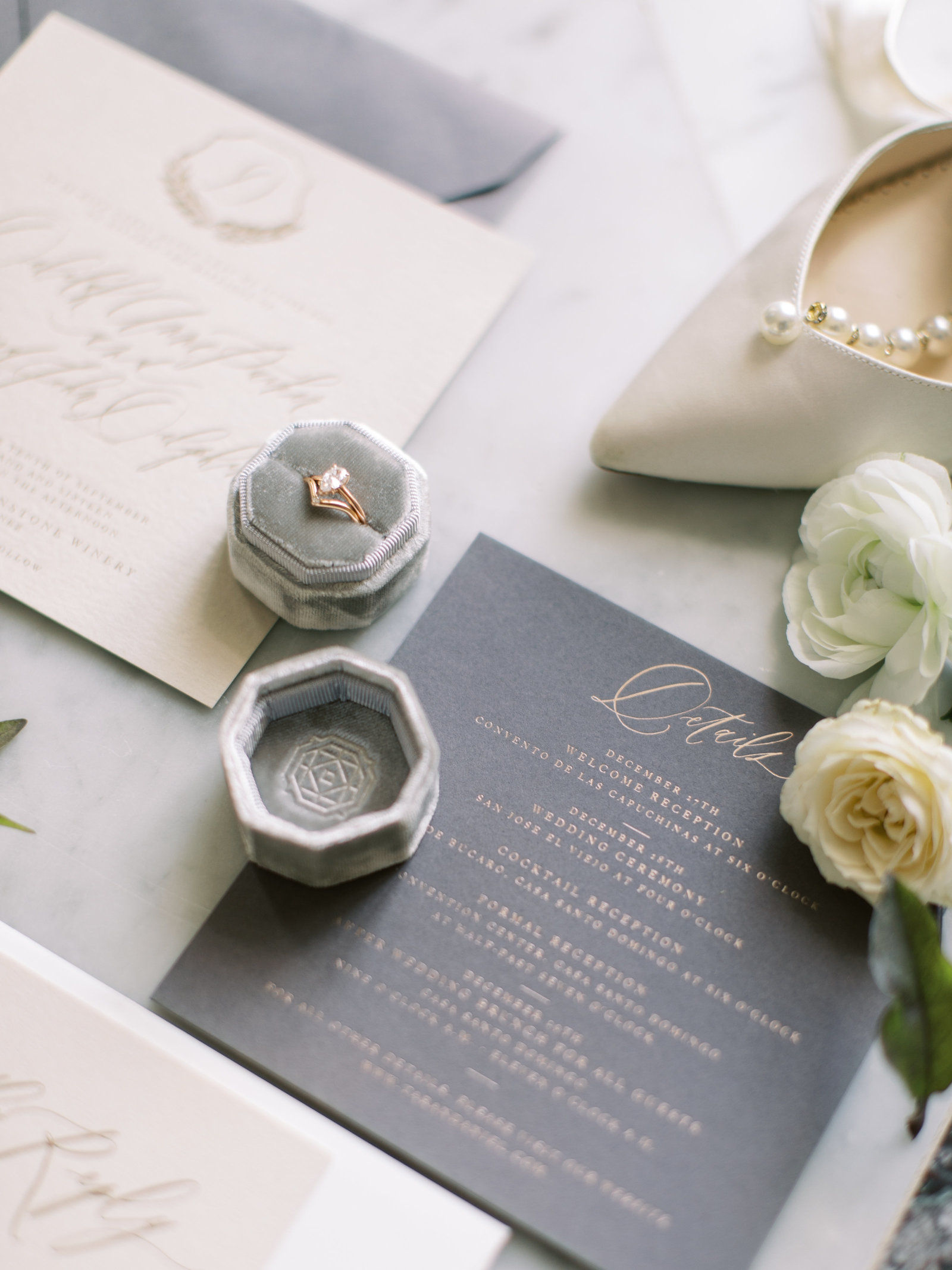 Grey and Cream Wedding invitation suite