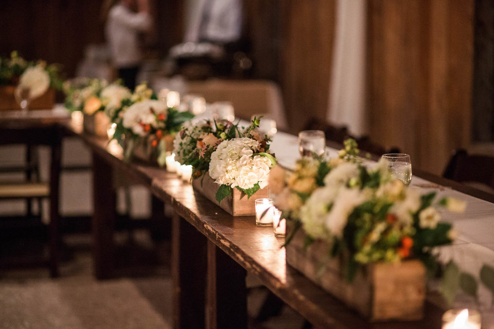 Flowers sit in wooden crates at reception, Boone Hall Plantation, Charleston, South Carolina