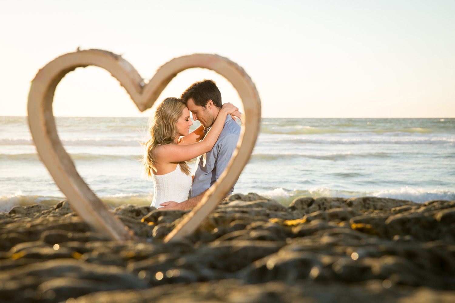 Torrey Pines engagement photos heart shaped rock