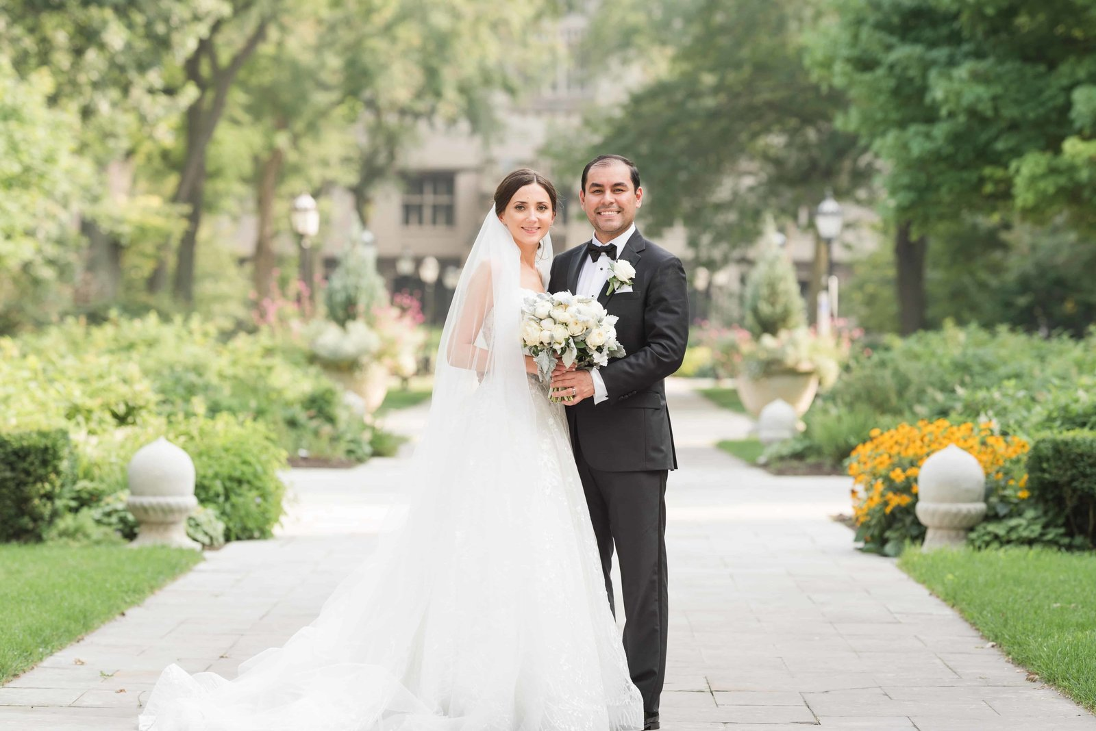 Autumn wedding day portrait at the University of Chicago Campus