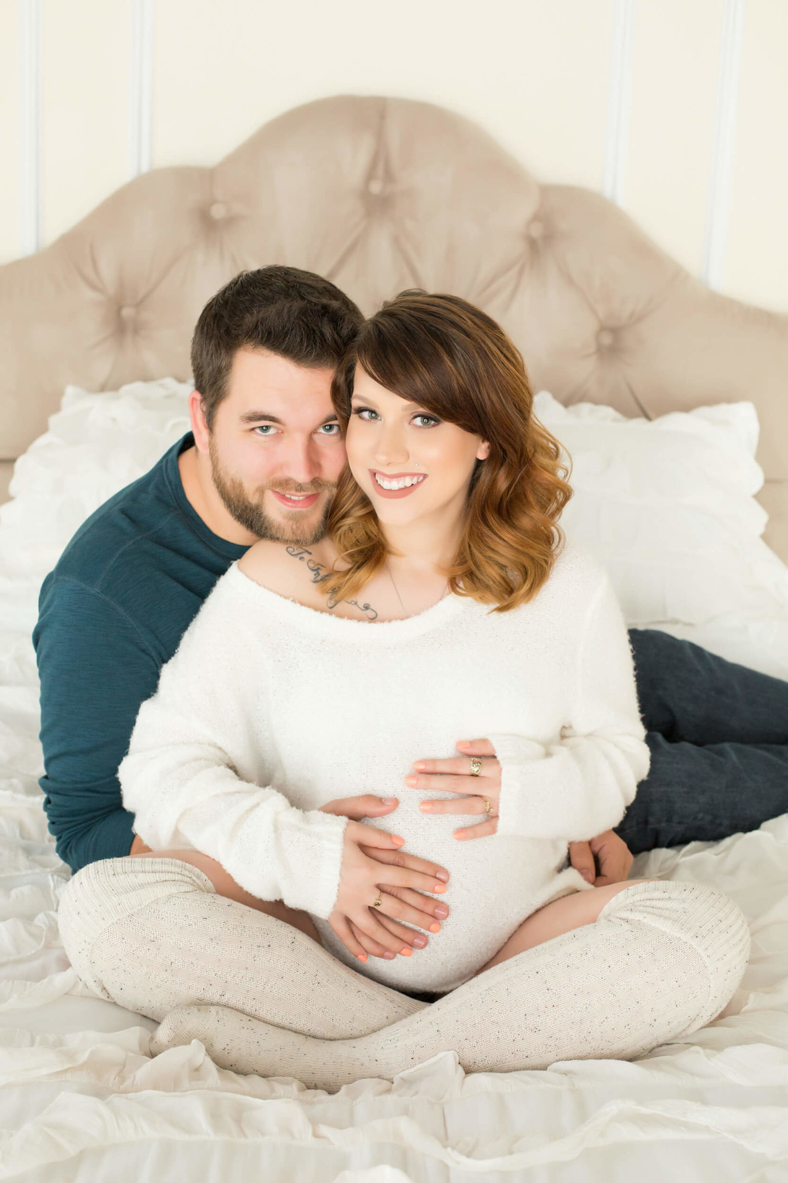indoor couples maternity photoshoot