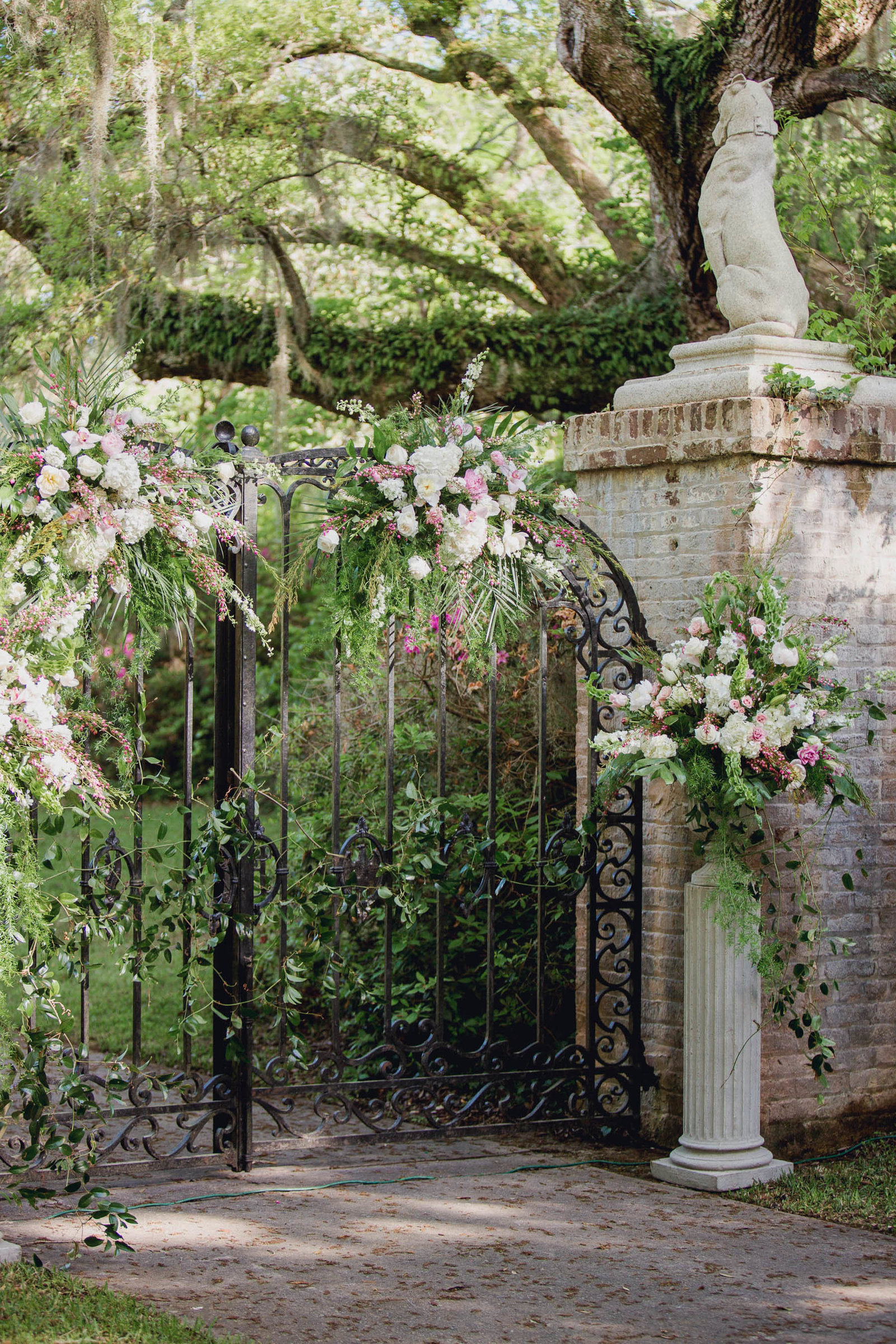 White And Pink Flowers Stand By Altar, Brookgreen Gardens, Murrells Inlet,  South Carolina