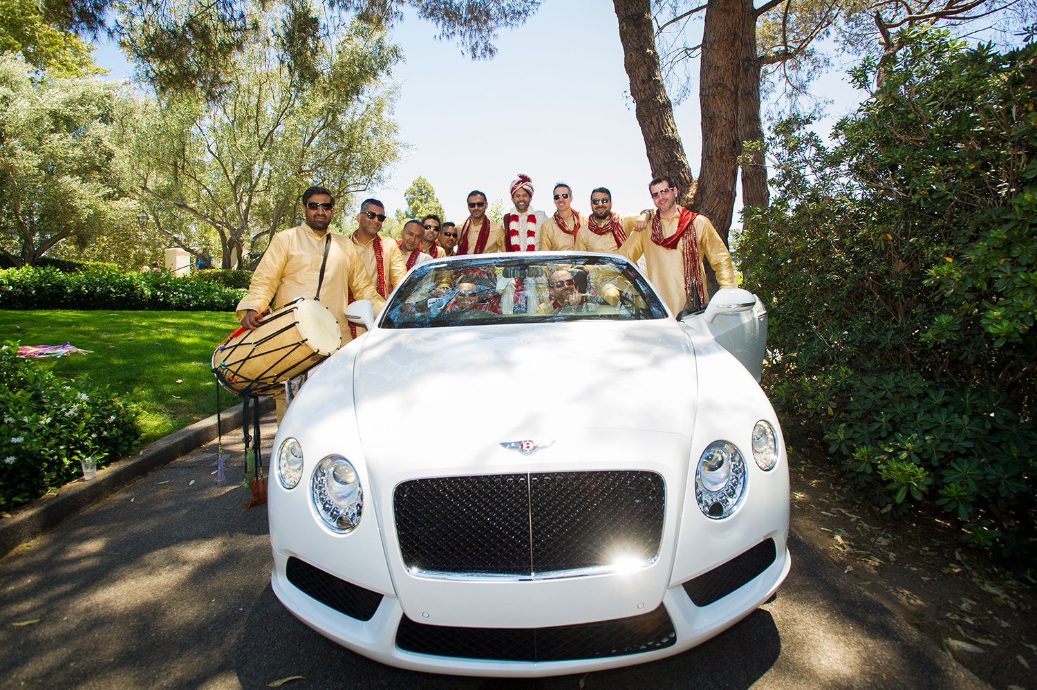 Baraat in style | Indian Groom and Groomsmen with a Bentley for their Baraat