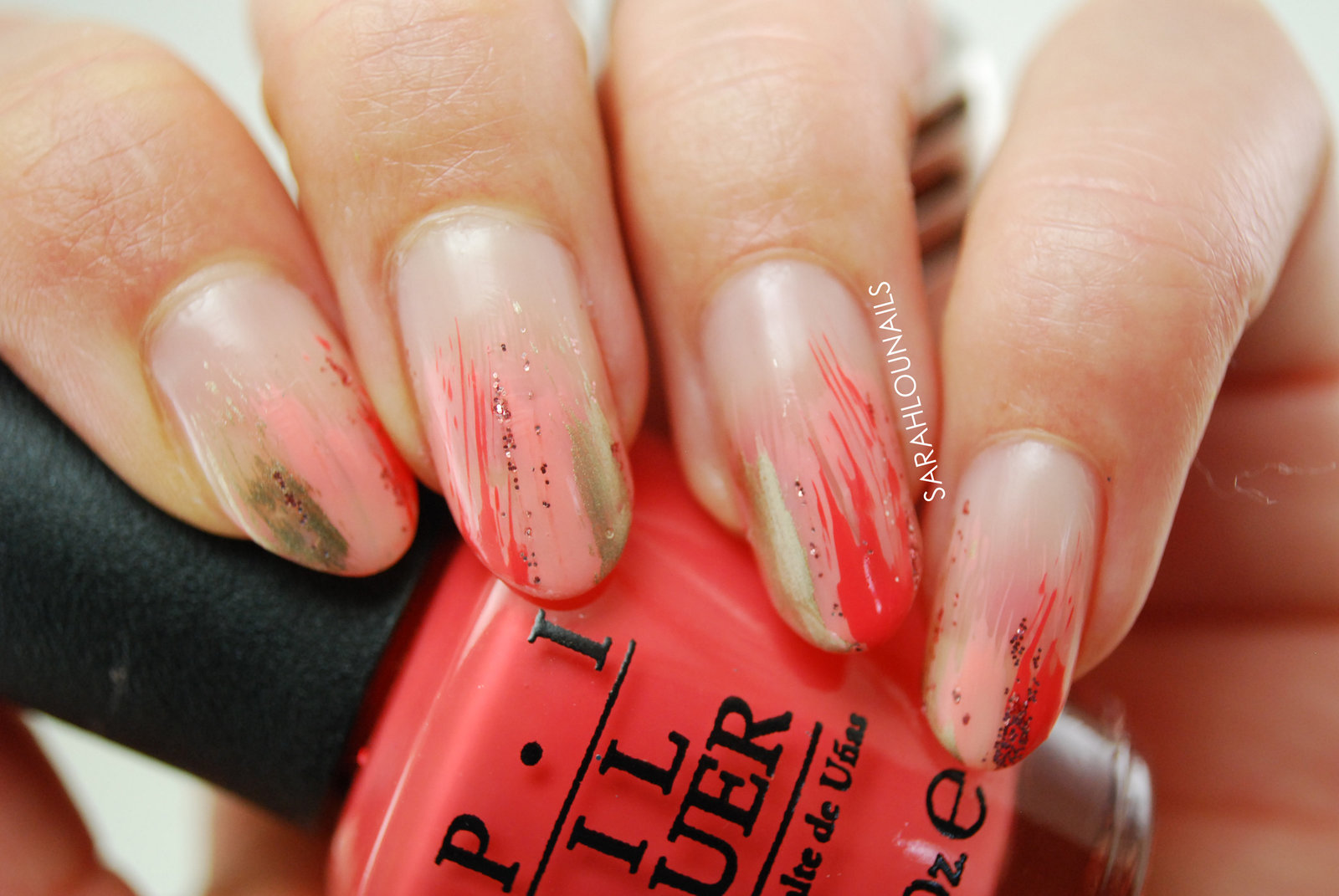 Coral Stripe Nails 2